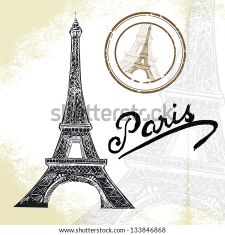 hand drawn Eiffel tower - stock vector