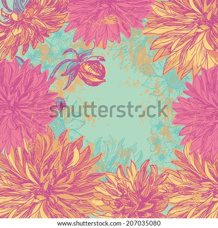 Hand drawn elegance  dahlia flowers background.  All objects are conveniently grouped on different layers and are easily editable. - stock vector