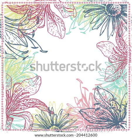 Hand drawn elegance fresh floral card. Vintage botanical background. All objects are conveniently grouped  and are easily editable - stock vector
