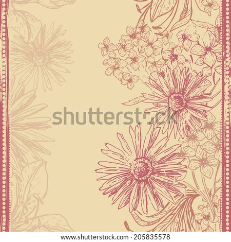 Hand drawn elegance retro floral seamless banner. Vintage botanical endless background. All objects are conveniently grouped  and are easily editable - stock vector