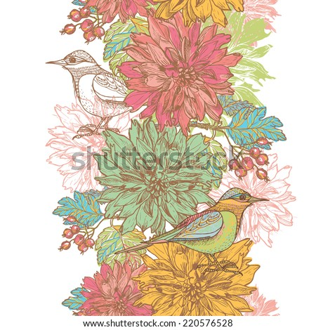 Hand drawn elegance  retro garden flowers and birds vertical seamless border.  All objects are conveniently grouped  and are easily editable. - stock vector
