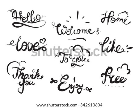 Hand drawn elegant catchwords for your design. Thank you, Free, Hello, Welcome, Enjoy, Home. Decorative elements. Hand lettering. Black and white - stock vector
