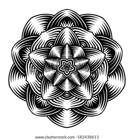 Hand drawn element. Black and white. Vintage print. Vector illustration.