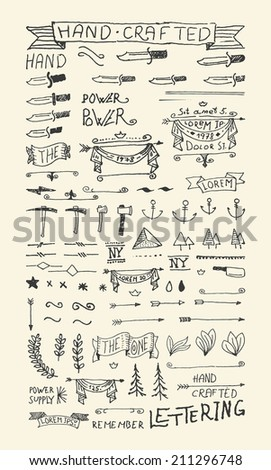 Hand Drawn elements & Banners. 100% vector shape.  - stock vector