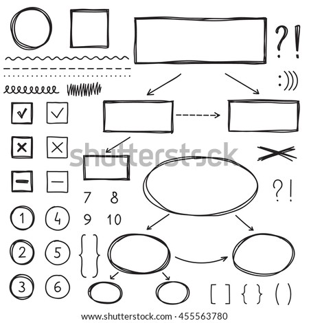 Hand drawn elements: divider, wavy and dotted lines, brackets,  box and circle scheme. Black marker sketch. - stock vector
