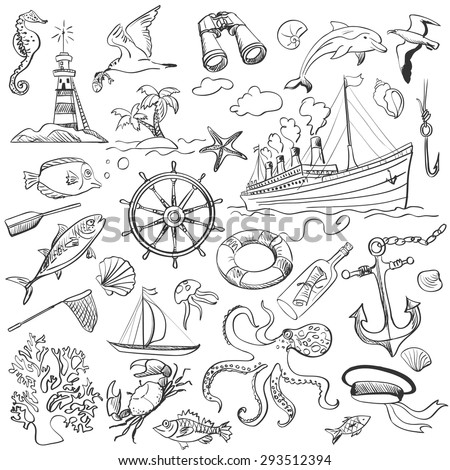hand-drawn elements of marine theme with a lighthouse, ships, sailboats, anchor, oars, wheel and bottle with a message - stock vector