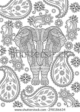 hand drawn elephant coloring page - Coloring Page Elephant Design