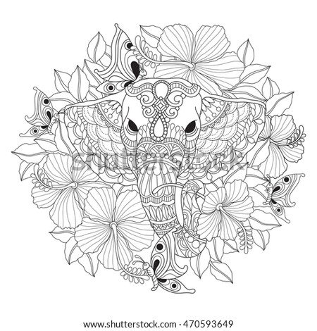 Hand Drawn Elephant Flower Color Book Stock Vector (Royalty Free ...