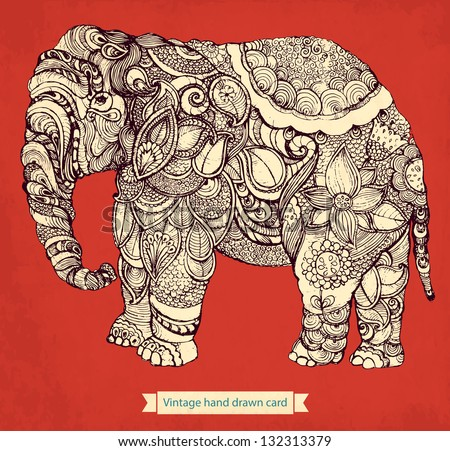 Hand drawn elephant with elements of a flower ornament