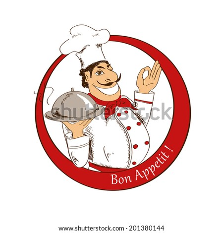 Hand drawn emblem of cartoon Chef with dish - stock vector