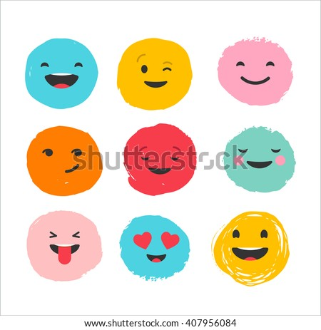 Hand drawn emoticons, colorful emoji icons with communication speech bubbles - stock vector