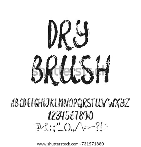 Hand Drawn English Lettering Alphabet Dry Brush With Examples Of This Font Modern Ink