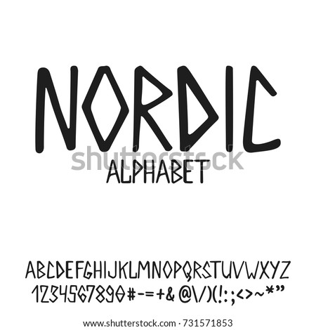 Hand Drawn English Lettering Alphabet Nordic With Examples Of This Font Modern Ink Brush Handwritten