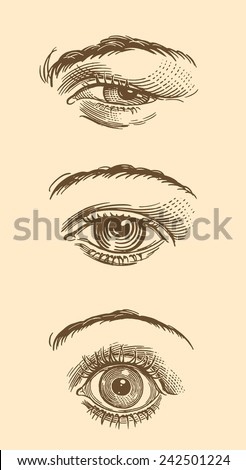 "Hand drawn engraving "" Eyes. "" isolated on color background .8 EPS"