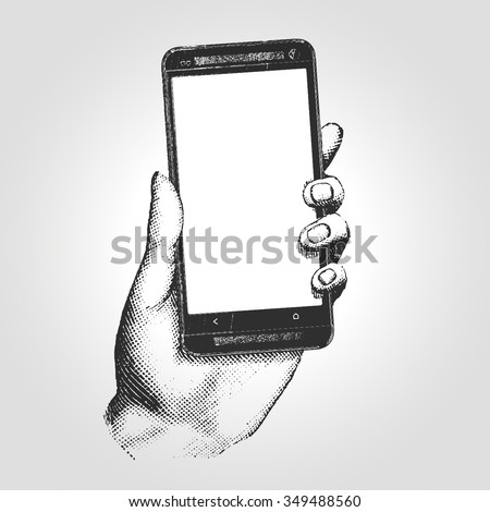 Hand drawn engraving style pen crosshatch hatching paper painting retro vintage vector lineart illustration of the modern smartphone. Hand holding a touch phone - stock vector