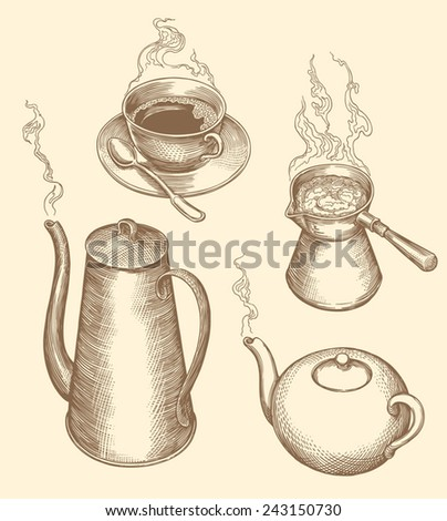 """Hand drawn engraving """" Tea  and coffee """" isolated on color background .8 EPS - stock vector"""