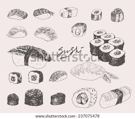 Hand drawn (engraving) vintage sushi set vector illustration - stock vector