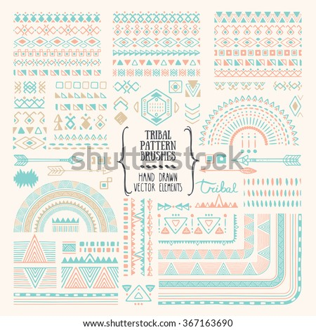 Hand drawn ethnic brushes, patterns, textures. Artistic vector collection of design elements: tribal geometric ornament, aztec style, native americans' fabric. Pattern brushes are included in EPS. - stock vector