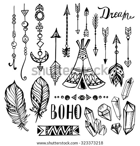 Hand drawn ethnic design elements. collection. Vector set with tribal, indian, aztec, hipster, boho elements - stock vector