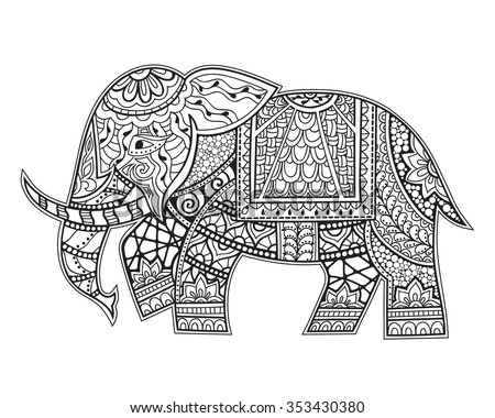 Hand Drawn Ethnic Elephant. Zenart Stylized. Coloring Book Page - stock vector