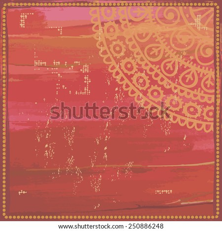 Hand drawn  ethnic frame in red tones. All objects are conveniently grouped  and are easily editable. - stock vector