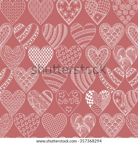 Hand drawn ethnic ornamental hearts, symbol St. Valentine's day in doodle, zentangle style, pink seamless pattern for adult coloring pages, tattoo, t-shirt or prints. Vector illustration. - stock vector