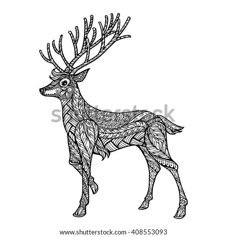 Beau Hand Drawn Ethnic Ornamental Patterned Deer Doodle, Zentangle Tribal Style  For Adult Coloring Pages,