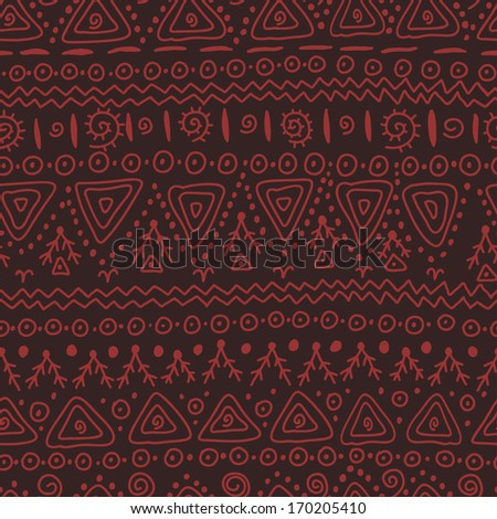 Hand drawn ethnic seamless pattern in dark chocolate and terracotta tones. - stock vector