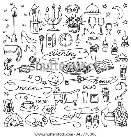 Hand drawn evening set. Vector illustration of doodle evening and night elements