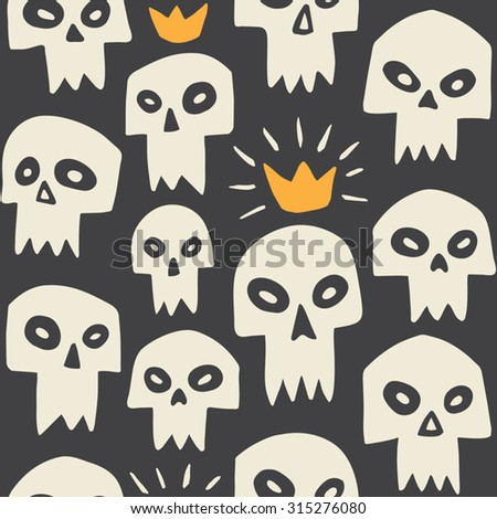Hand drawn evil skulls seamless pattern. Cute cartoon sculls with sharp vampire teeth and shining crown. Halloween background. Black backdrop. - stock vector