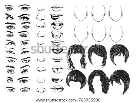 Hand drawn face constructor, eyes, lips, noses and hair, vector woman face parts, head character. Vector illustration