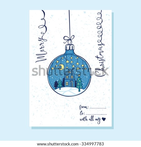 Hand drawn fairy Christmas greeting card. Paper star garlands, moon, little house and noel tree in the Christmas ball. handwritten lettering