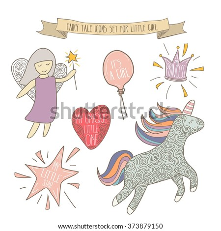Hand drawn fairy tale icons for little girl. Vector set isolated on white - stock vector