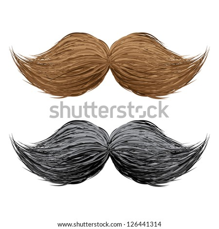 Hand drawn fake vector mustaches set