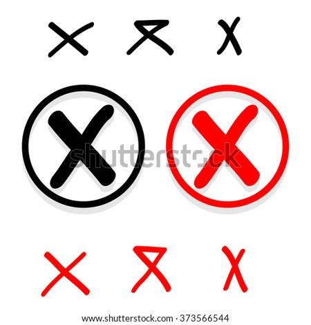 Hand drawn false check mark Vector EPS10, Great for any use - stock vector