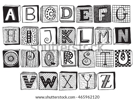 Block letters stock images royalty free images vectors hand drawn fancy alphabet on blocks funny doodle letters vector set of black and pronofoot35fo Image collections