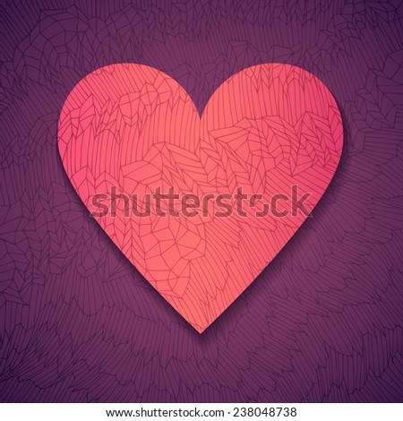 Hand drawn fancy paper heart, vector eps10 illustration - stock vector