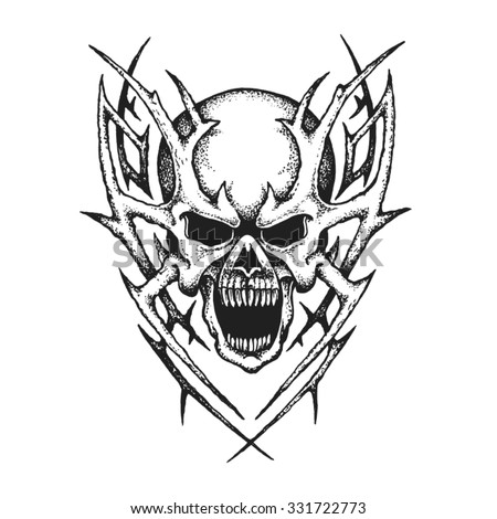 Hand drawn fantastic skull. Vector illustration