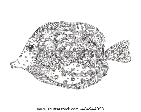 Hand-drawn fantasy fish with ethnic doodle pattern. Coloring page - zendala, for  relaxation and meditation for adults, vector illustration, isolated on a white background. Zendoodle.