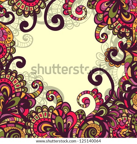 Hand drawn fantasy motley vector frame with abstract elements and plants - stock vector
