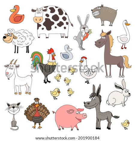 hand drawn farm animals set vector illustration - stock vector