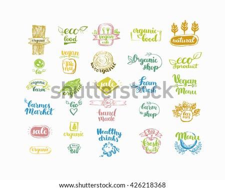 Hand-Drawn farm fresh logo set. Label collection of organic eco company, vegetarianets, bio labels. For vegetarian restaurant, vegan cafe menu, restaurant menu, organic shops, markets. Inc lettering