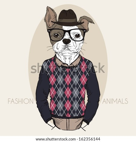 Hand Drawn Fashion Illustration of French Bulldog Hipster in colors - stock vector