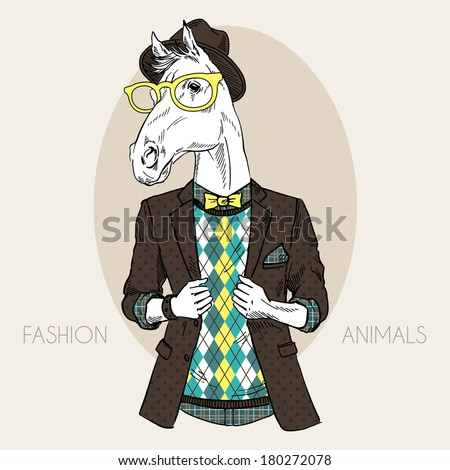 Hand drawn fashion illustration of horse hipster in colors - stock vector