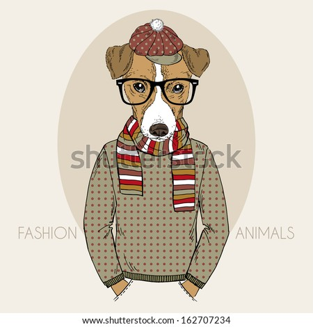 Hand Drawn Fashion Illustration of Jack Russel Terrier Hipster in colors - stock vector