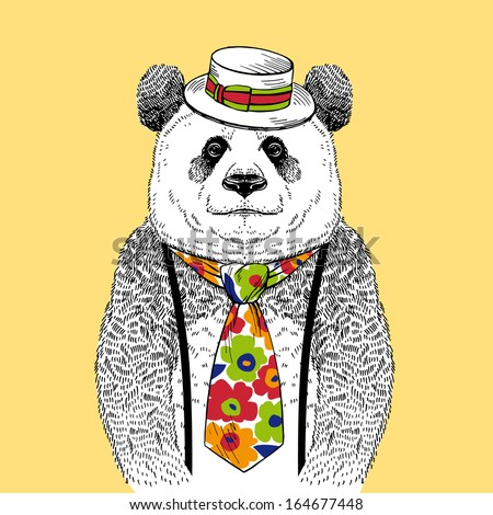 Hand Drawn Fashion Illustration of Panda in Colorful Tie and  Straw Boater isolated on light background - stock vector