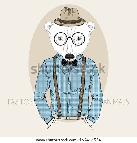 Hand Drawn Fashion Illustration of Polar Bear Hipster in colors - stock vector