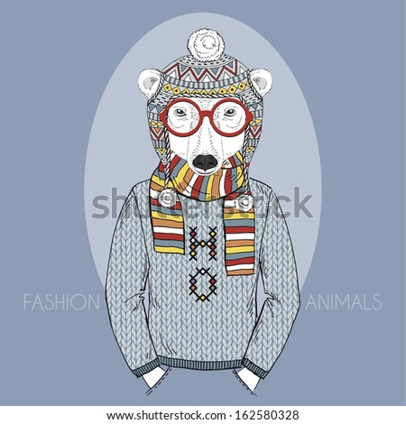 Hand Drawn Fashion Illustration of Polar Bear in Winter Knitwear in colors - stock vector