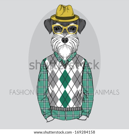 Hand Drawn  fashion illustration of Schnauzer Hipster in colors - stock vector