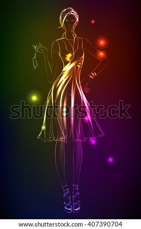 Hand-drawn fashion model from a neon. A light girl's - stock vector